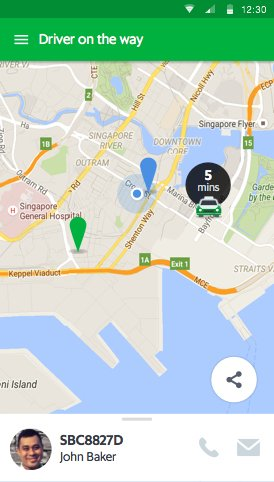 map in the GrabTaxi